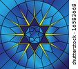 Vector illustration of stained glass star of david. - stock photo