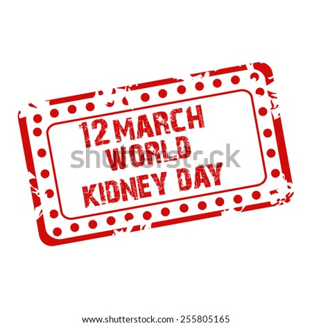 Vector illustration of stamp for World Kidney Day. - stock vector