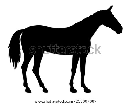 vector illustration of standing horse silhouette - stock vector