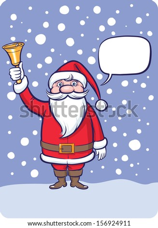 Vector illustration of standing Santa Claus with Christmas bell. Easy-edit layered vector EPS10 file scalable to any size without quality loss. High resolution raster JPG file is included.  - stock vector