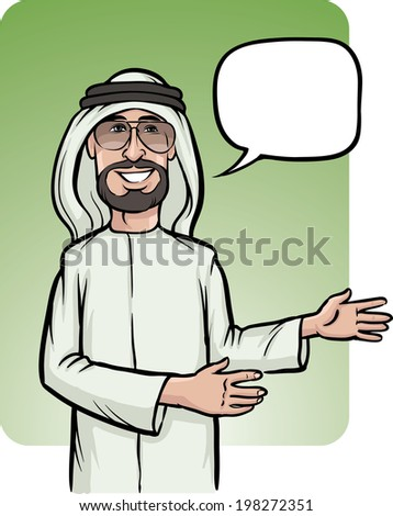 Vector illustration of standing smiling arab man showing direction. Easy-edit layered vector EPS10 file scalable to any size without quality loss. - stock vector