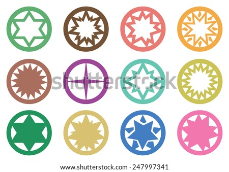 Vector illustration of star in circle symbols graphic design isolated on white background - stock vector