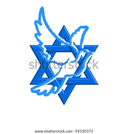 Vector illustration of Star of David & pegeion - stock vector