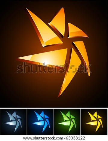 Vector illustration of star shiny symbols. - stock vector