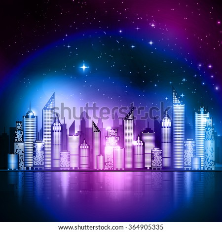 Vector illustration of starry night sky over a city