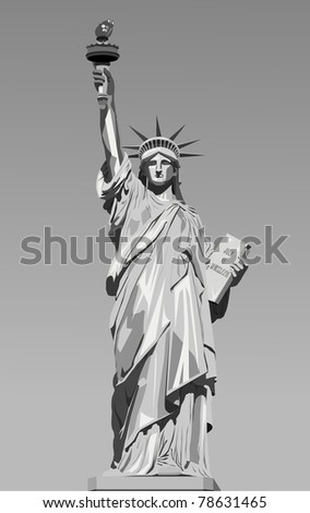 vector illustration of statue of liberty - stock vector