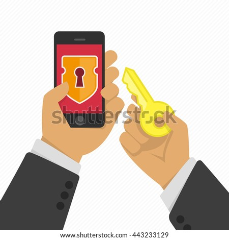 Vector illustration of stealing personal information from your mobile phone. Protection and hacker, crime theft, privacy smartphone. Hacker hacking smartphone illustration in flat style. - stock vector