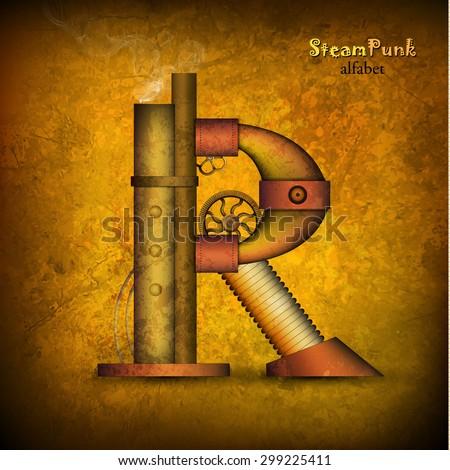 Vector illustration of steam punk letter. - stock vector