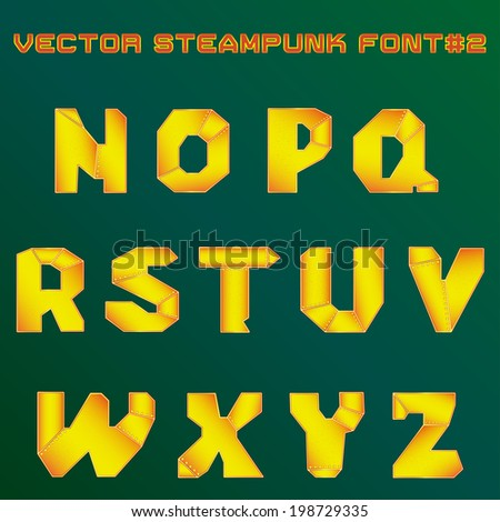 vector illustration of steampunk alphabet for design - stock vector