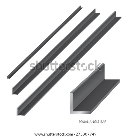 Vector illustration of steel construction isolated (Equal Angle Bar) on white background. - stock vector