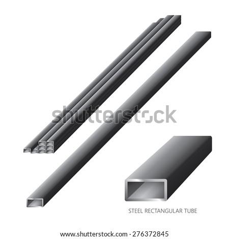 Vector illustration of steel construction isolated (Steel Rectangular Tube) on white background. - stock vector
