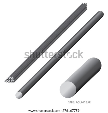 Vector illustration of steel construction isolated (Steel Round Bar) on white background. - stock vector