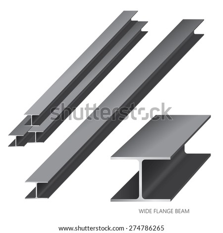Vector illustration of steel construction isolated (Wide Flange Beam)on white background. - stock vector