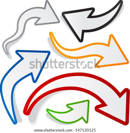 Vector illustration of sticky collection of colorful paper arrows. Eps10.