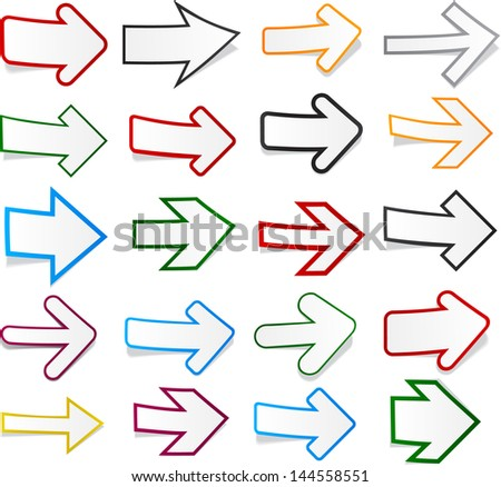 Vector illustration of sticky collection of paper arrows. Eps10.