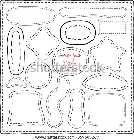 Vector Illustration of stitched ribbon patches. Hand-drawn doodle elements, frames. Patchwork. Set of labels black and white frame in different shapes, imitating hand stitch with a bow - stock vector