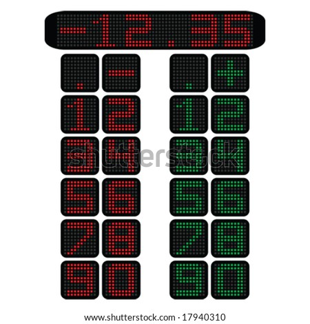 Vector illustration of stock ticker panel with numbers in red and green. For jpeg version, please see my portfolio. - stock vector