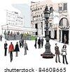 Vector illustration of Stockholm city street scene - stock vector