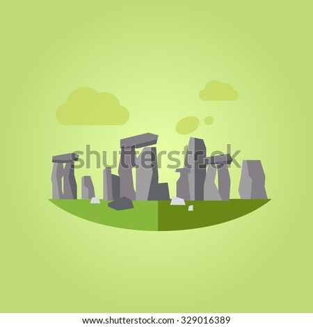 Vector Illustration of Stonehenge, flat style concept - stock vector