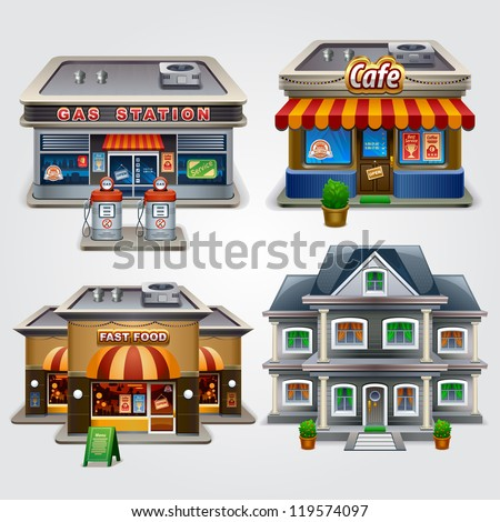 Vector Illustration Store Gas Station Cafe Stock Vector ...