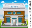 Vector illustration of store icon - stock photo