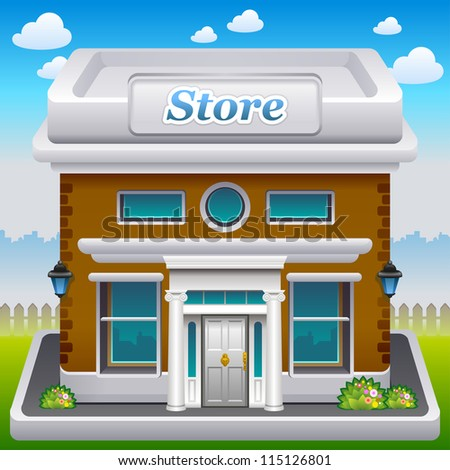 Vector illustration of store icon - stock vector