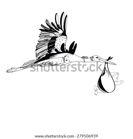 Vector illustration of stork flying with a baby in the sky - stock vector