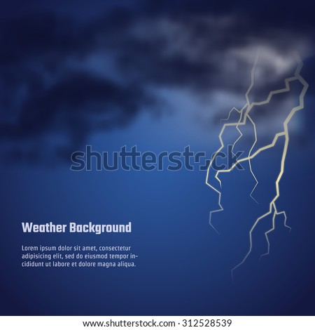 Vector Illustration of storm weather for Design, Website, Background, Banner. Realistic cloud night Template with flash - stock vector