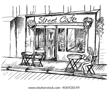 Vector illustration of street cafe with visitor in modern city in sketch style