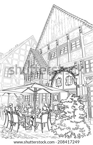 Vector illustration of street in germany. Street cafe.