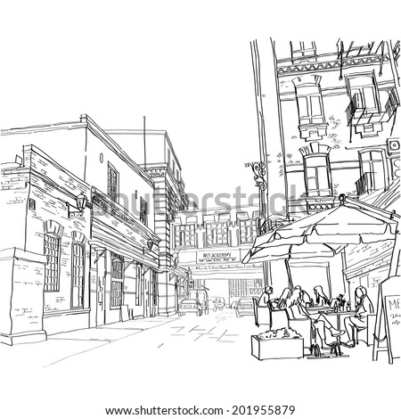 Vector illustration of street in Moscow. Street cafe