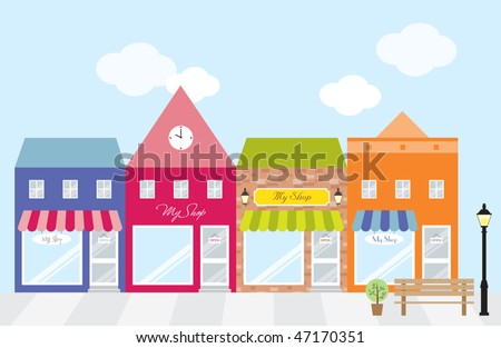 Vector illustration of strip mall shopping center. Each store is individually grouped. Window display can be easily edited if you want to add merchandise to display. No gradient used. - stock vector
