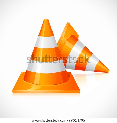 vector illustration of striped under construction cone - stock vector