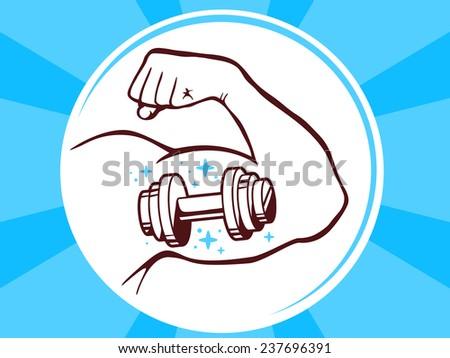 Vector illustration of strong man hand with  icon of dumbbell on blue pattern background. Manly line art design for web, site, advertising, banner, poster, board and print. - stock vector