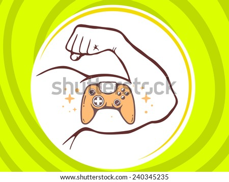 Vector illustration of strong man hand with  icon of joystick on green background. Manly line art design for web, site, advertising, banner, poster, board and print. - stock vector