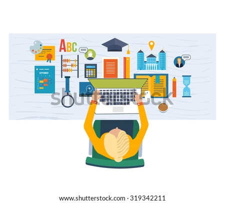 Vector illustration of student on workplace with laptop and education icons - stock vector
