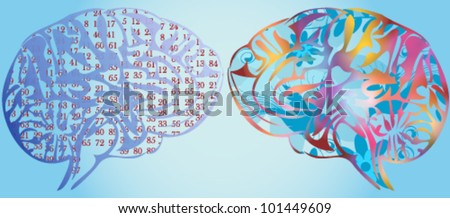 Vector illustration of stylized colored human brain - stock vector