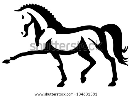 Vector illustration of stylized dressage horse - stock vector