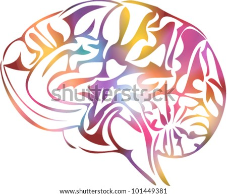 Vector illustration of stylized human brain - stock vector