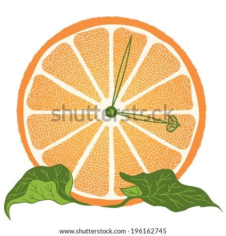 vector illustration of stylized  orange slice  as a clock (EPS 10) - stock vector