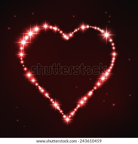 vector illustration of stylized red irregular heart in style of star constellation - stock vector