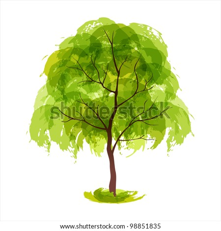 Vector illustration of stylized summer tree. EPS 10 - stock vector