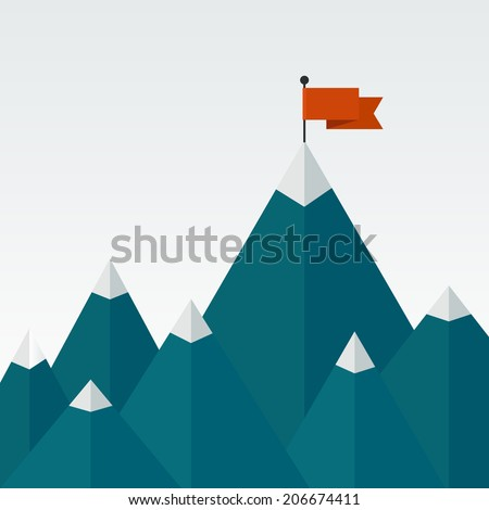 Vector illustration of success - top of the mountain with red flag. Flat illustration of a victory, goal achievement, getting things done. - stock vector