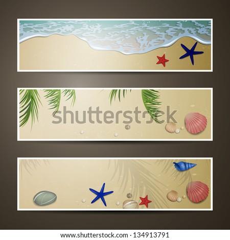 Vector Illustration of Summer Beach Banners - stock vector
