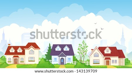 Vector illustration of summer suburbs - stock vector