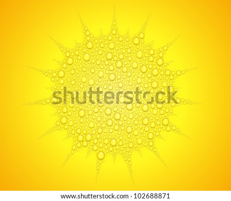 Vector illustration of sun from water drops on orange background - stock vector