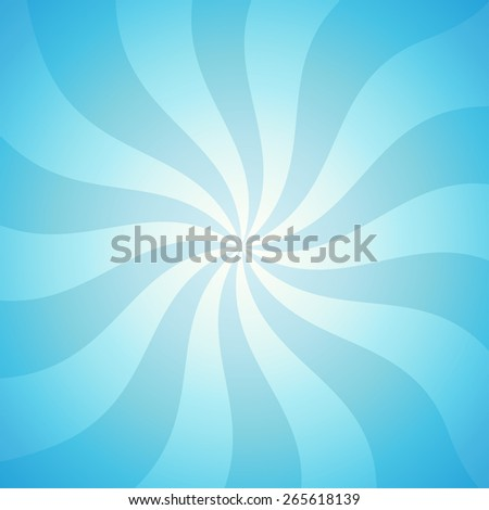 Vector Illustration of Sunny Sky, Colorful background in blue color with twisted curve shapes and glow - stock vector