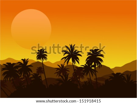 Vector illustration of sunset in the tropical hills with silhouettes of palm trees - stock vector