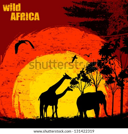 Vector illustration of sunset in wild africa. Elephant and giraffes on grunge background - stock vector