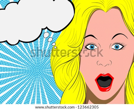 Vector illustration of surprised woman face - stock vector